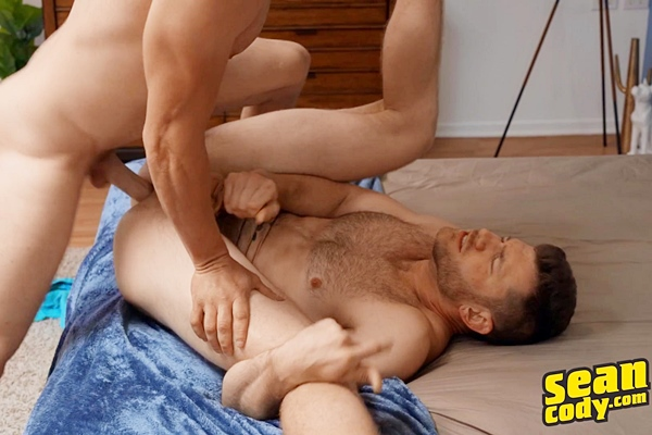 Big-dicked porn star Sean barebacks Caden (aka Caden Jackson) balls deep in different positions before he fucks the cum out of Caden at Seancody