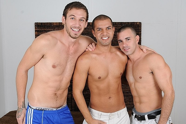 Hot straight jock Turk, Carter, Nikko (aka Chris Tyler) kiss, suck dick, eat ass, try dildo play and cum on faces in Naked Truth Or Dare 3-Way at Straightfraternity