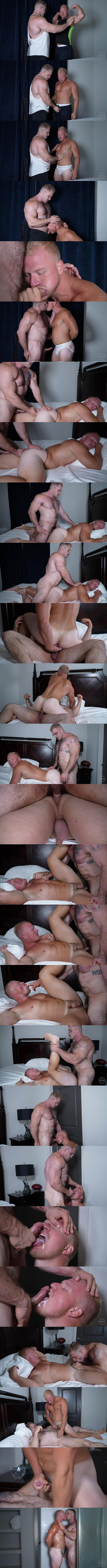 Big hairy muscle man Davin Strong fucks football stud Knox's tight virgin ass before nuts in Knox's mouth in Knox's bottoming debut in Popping Knox's Cherry at Theguysite 01