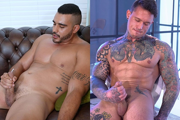 Masculine Brazilian straight beefcake Mike Hard and tattooed soccer player Pavel pose their naked muscle bodies and jerk off for the first time on camera at Theguysite